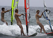 Nude windsurfers get their sails up