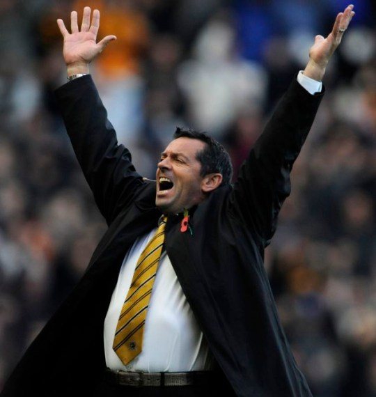 Hull boss Phil Brown celebrates after his side's crucial win over Stoke