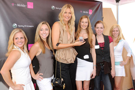 Supersize me: Sharapova, centre, poses with the winner, far left, and the rest of the finalists