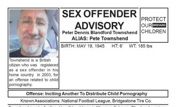 Pete Townshend 'sex offender' posters in Miami for 'public safety'