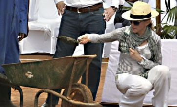 Madonna goes to Malawi to lay first foundations for new girls' school