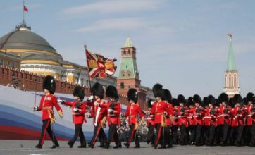 Welsh Guards mark VE Day by marching through Red Square