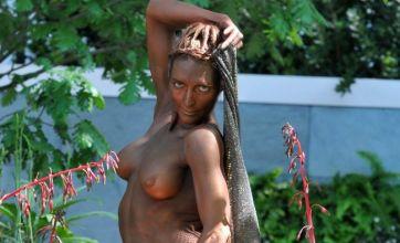 Naked model looks blooming lovely at Chelsea Flower Show