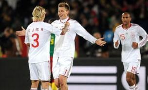 Nicklas Bendtner celebrates Denmark's equaliser (Allstar)