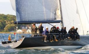 Tony Hayward's yacht in action off the Isle of Wight (PA)