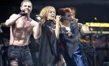 Kylie Minogue performs with Scissor Sisters at Glastonbury