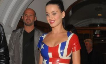 Katy Perry's sexy PVC dress flies the flag for England v USA