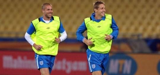 Matthew Upson (left) and Michael Dawson in England training