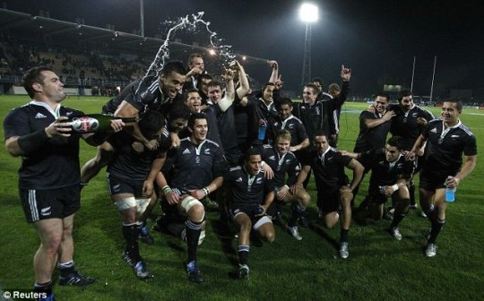 New Zealand Maori celebrate beating England in Napier