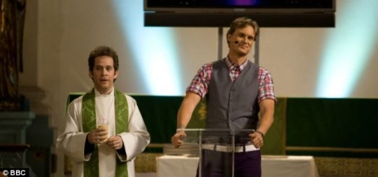 Laughs: Tom Hollander and Darren Boyd in BBC Two's Rev