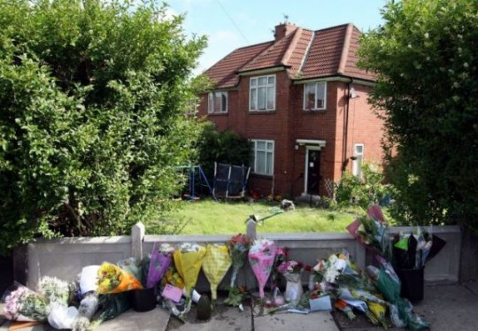 Friends of Raoul Moat left flowers and messages outside his home in Fenham, Newcastle (Photo AP)