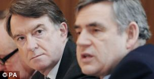 Lord Mandelson (left) and former prime minister Gordon Brown