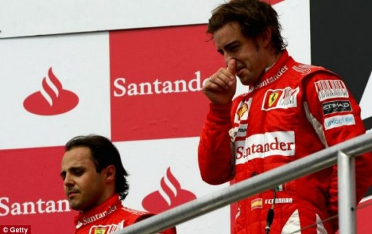 Controversial: Fernando Alonso took victory in Germany after Felipe Massa was instructed to allow the Spaniard through