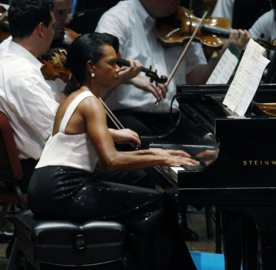 Former US Secretary of State Condoleezza Rice performs Mozart's piano concerto in D Minor with The Philadelphia Orchestra (AP)