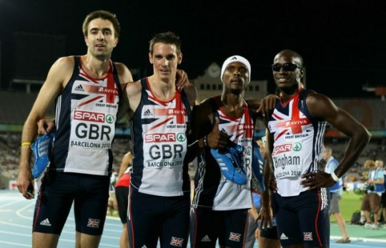 Final hurdle: From left to right, Rooney, Tobin, Williams and Bingham reflect after winning silver in the men's 4x400metres (Getty Images)