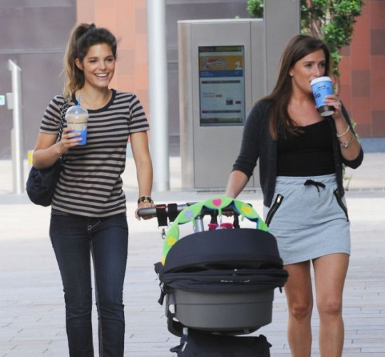 Carly Cole takes baby Ruby out with a female pal in Liverpool (Photo: Xposure)