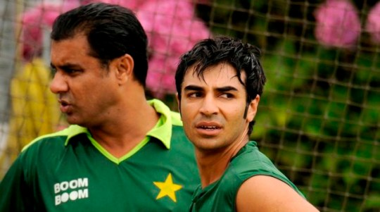Final decision: Salman Butt, right, with coach Waqar Younis during a training session