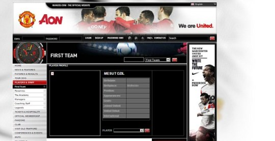 Mesut Ozil's profile page on the Manchester United website