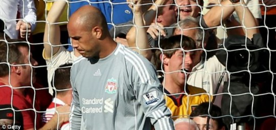 Disappointment: Jose Reina reacts after his goalkeeping howler