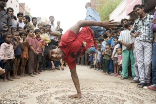 Performance: B-boy Vinod Thakur demonstrates his skills to an engrossed audience