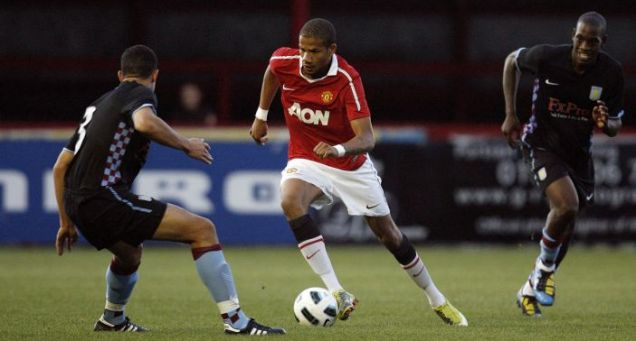 Manchester United's Bebe in action for the reserve side against Aston Villa (Action Images)