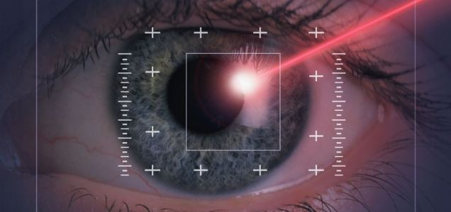 Laser beam on eye