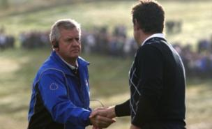 Colin Montgomerie's Europeans will hope to regain the Ryder Cup initiative this afternoon (PA)