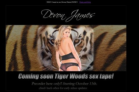 The Tiger Woods sex tape named TigerTapeXXX.com website is a fake