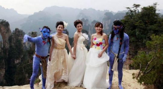 Avatar wedding party, complete with 'unconvincing' Navi guests