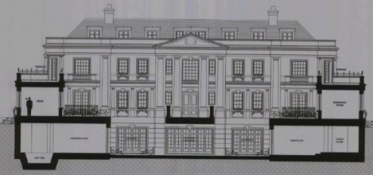 The plans for the mansion (with inbuilt nightclub in the basement)