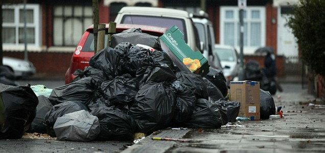 Piles of rubbish gather on the streets of Handsworth as bin collections fall behind schedule (Pic: Getty)