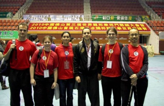 Team Britain: Mr Braithwaite poses with his students at the World Dragon Championships