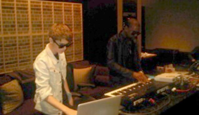 Kanye West tweeted this picture of himself and Justin Bieber working together in the studio