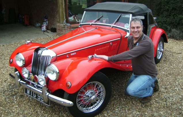 New owner Jodie Green who paid a whopping £20,000 at auction for the classic MG.