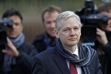 WikiLeaks founder Julkian Assange arrives at Belmarsh Magistrates' Court in London today