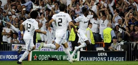 Real Madrid forward Emmanuel Adebayor scores against Spurs (AFP/Getty)