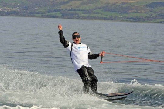 Fearless: Mr Thiele crosses the Menai Straits in Wales Picture: FPNW/Barcroft