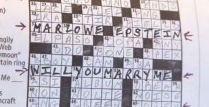The finished crossword puzzle, complete with proposal (Picture: Washington Post)