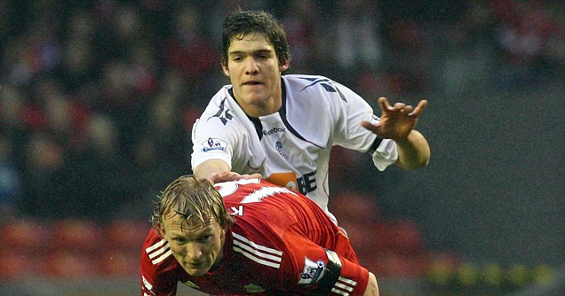 Bolton Wanderers' Marcos Alonso (back) was involved in a fatal car accident on Monday