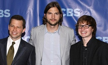 Ecstatic Ashton Kutcher joins up with Two and a Half Men cast