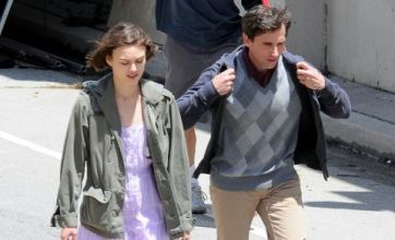 Keira Knightley keeps warm as she shoots new movie with Steve Carell