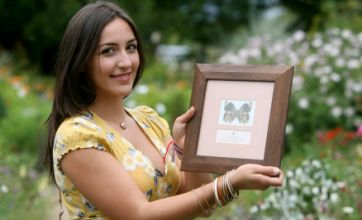 Student Isobel Talks all aflutter after meeting butterfly named after her