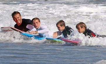 David Beckham and the boys go surfing with Gordon Ramsay