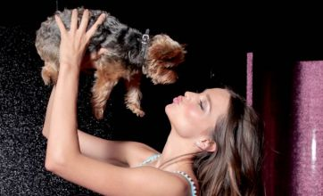 Miranda Kerr models £1.6m Fantasy Treasure bra and smooches a dog