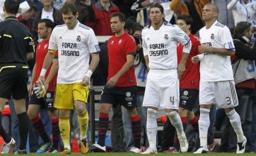 Real Madrid wear shirts of support for former team-mate Antonio Cassano
