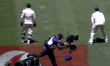 Cricket cameraman left red-faced after Segway crash