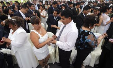 92 couples tie the knot during mass wedding in Lima