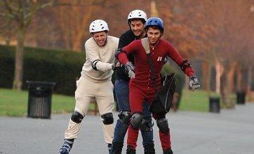 Joey Essex and Arg go rollerskating in onesies during TOWIE filming