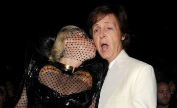 Lady Gaga plants a smacker on Sir Paul McCartney at Grammy Awards