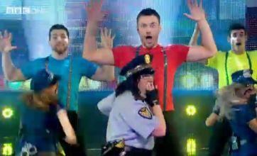 Alice Barry grabs Steve Jones' crotch on Let's Dance For Sport Relief
